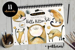 Hello Kitten Watercolor Set