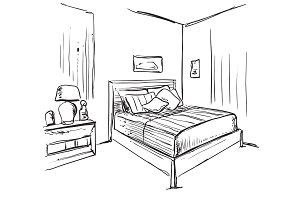 Bedroom modern interior sketch. Hand drawn furniture