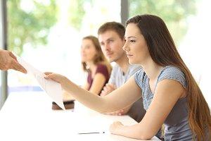 Student receiving an exam