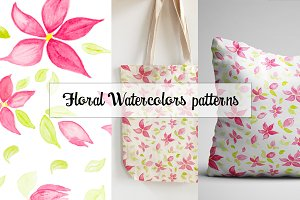 Floral watercolors seamless patterns