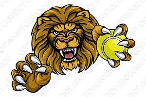 Lion Tennis Ball Sports Mascot