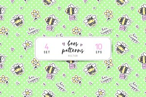 Cute fat bees, seamless patterns