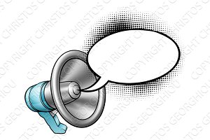 Cartoon Megaphone and Speech Bubble