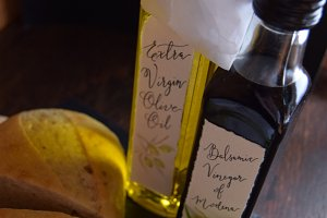 Olive Oil & Vinegar Bottles Bread
