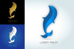 Blue-white-gold fish abstract logo