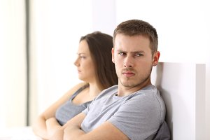 Angry couple after argument