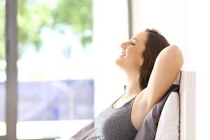 Single happy woman relaxing