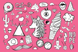 Vector set of feminine icons