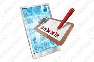 Online survey phone app clipboard concept