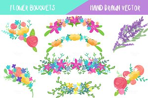 Flower Bouquets Set