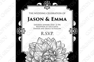 Dahlia or Chrysanthemum Wedding Invite Template
