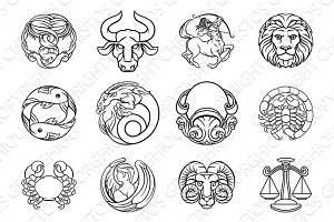 Horoscope zodiac astrology star signs icon set