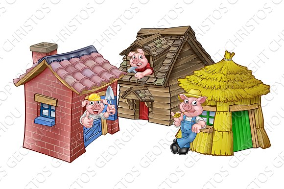 Image result for the three little pigs houses