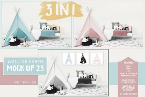 Kids Room Wall/Frame Mock Up 23