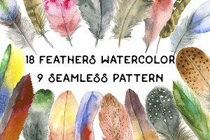 Feathers and  Patterns watercolor