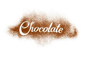 The word Chocolate written by cocoa powder