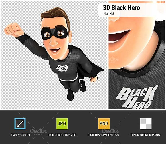 3D Black Hero Flying