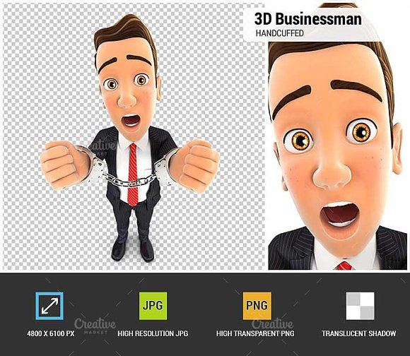 3D Businessman Handcuffed