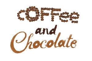 Chocolate and coffee. Written by cocoa, coffee powder and beans