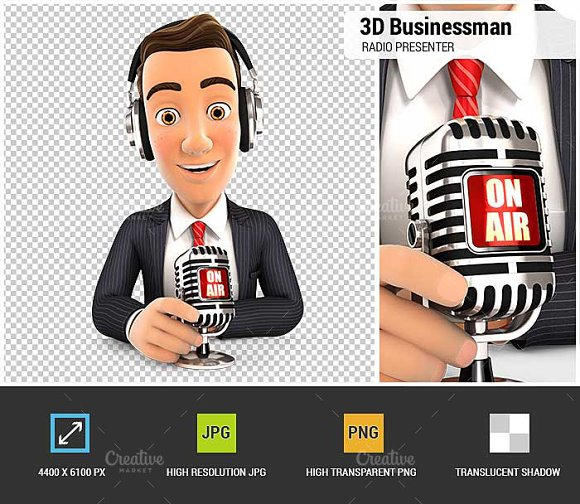 3D Businessman Radio Presenter