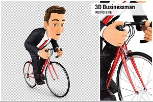 3D Businessman Riding a Bike