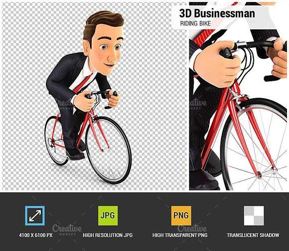 3D Businessman Riding A Bike