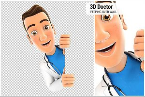 3D Doctor Peeping over Blank Wall