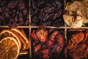 Homemade dried berries and fruits