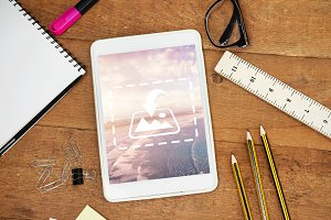 Tablet With Office Supply Mockup