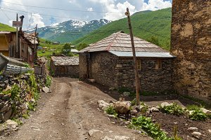 streets and houses in village Ushguli