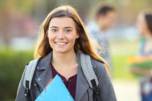 One happy student posing
