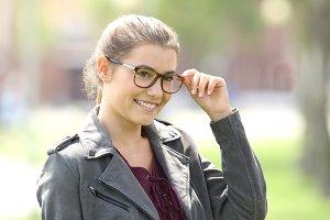 Beautiful woman wearing eyeglasses
