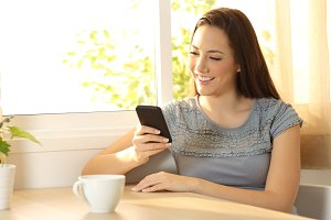 Single girl chatting ona mobilephone