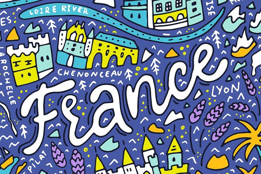 Map Of France Cartoon.Map Of France Cartoon Illustration Illustrations Creative Market