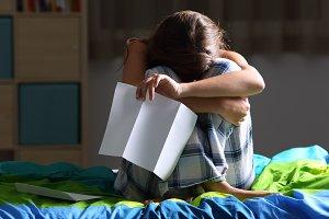 Single sad teen lamenting