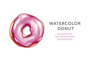 Watercolor Donut, Illustration.