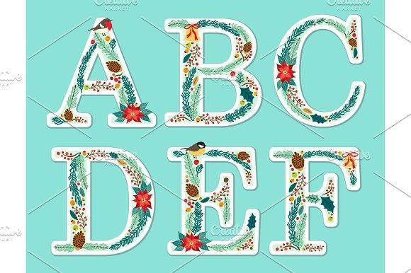 Cute Vintage Hand Drawn Rustic Floral Christmas Alphabet