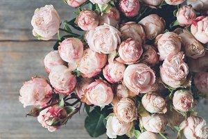 Pink shrub roses bouquet vintage style