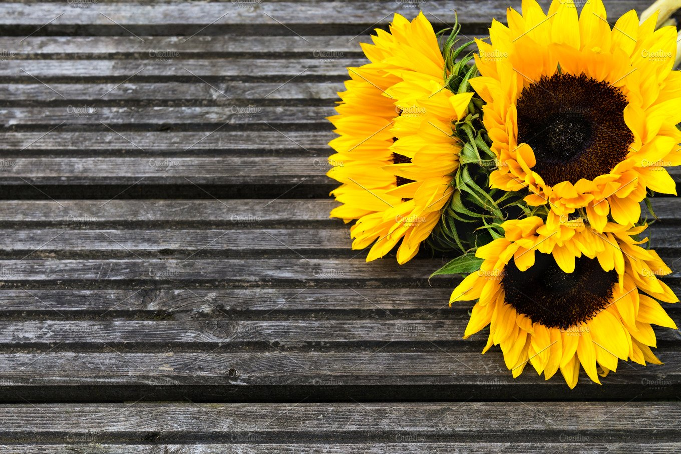 Yellow Sunflower Bouquet On Wooden Rustic Background Nature Photos Creative Market