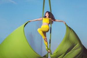 Athlete aerial acrobatics.