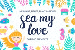 Sea My Love. Clip Art Set.
