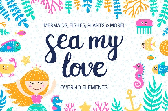 Sea My Love Clip Art Set