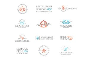 Set of retro vintage fish and seafood logo or insignia, emblems, labels and badges and other branding objects. Vector line style