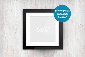 Square Frame Mockup on White Wood