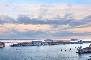 Venice city (Italy) sunset panorama