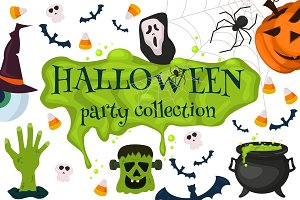 Halloween party collection vector