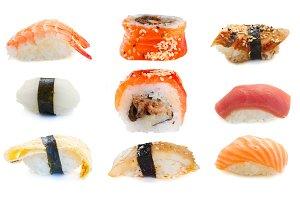 set of sushi rolls