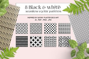 Black&white seamless vector patterns