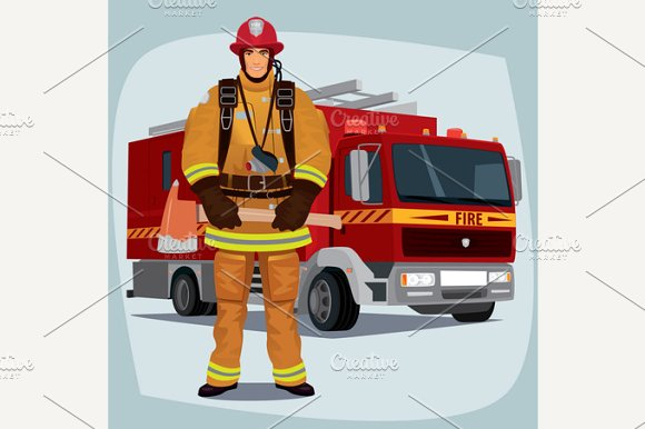 Firefighter Or Fireman With Fire Truck