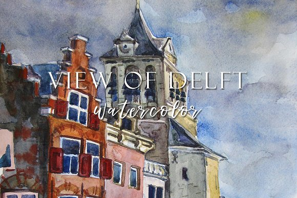 View Of Delft Watercolor